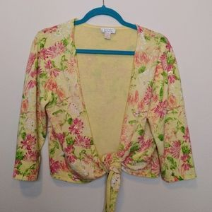 yellow and pink floral tie front cardigan